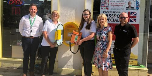 An image relating to New life saving equipment in prominent town centre location
