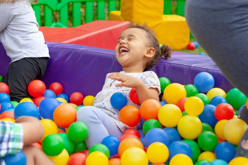 Images of children in ball pool