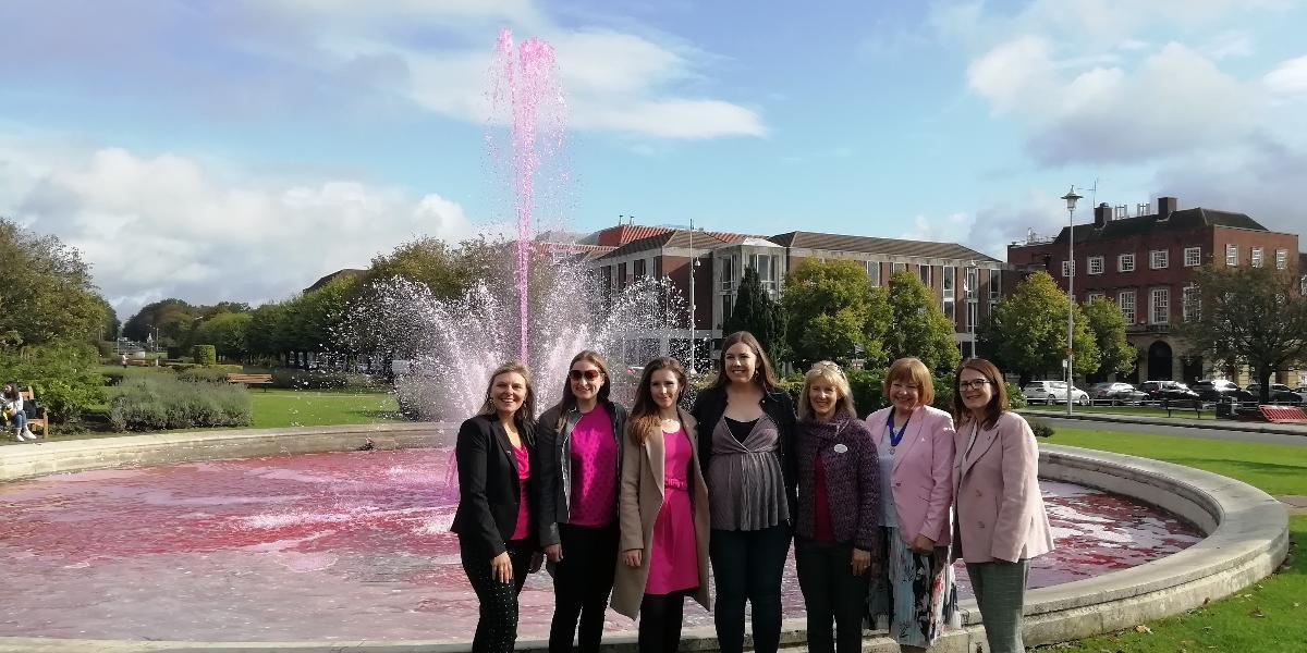 Coronation Fountain in Welwyn Garden City goes pink for Breast Cancer Awareness month in October