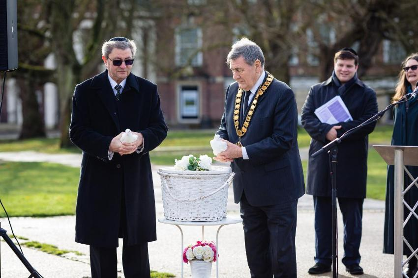 Releasing doves on Holocaust Memorial Day 2020