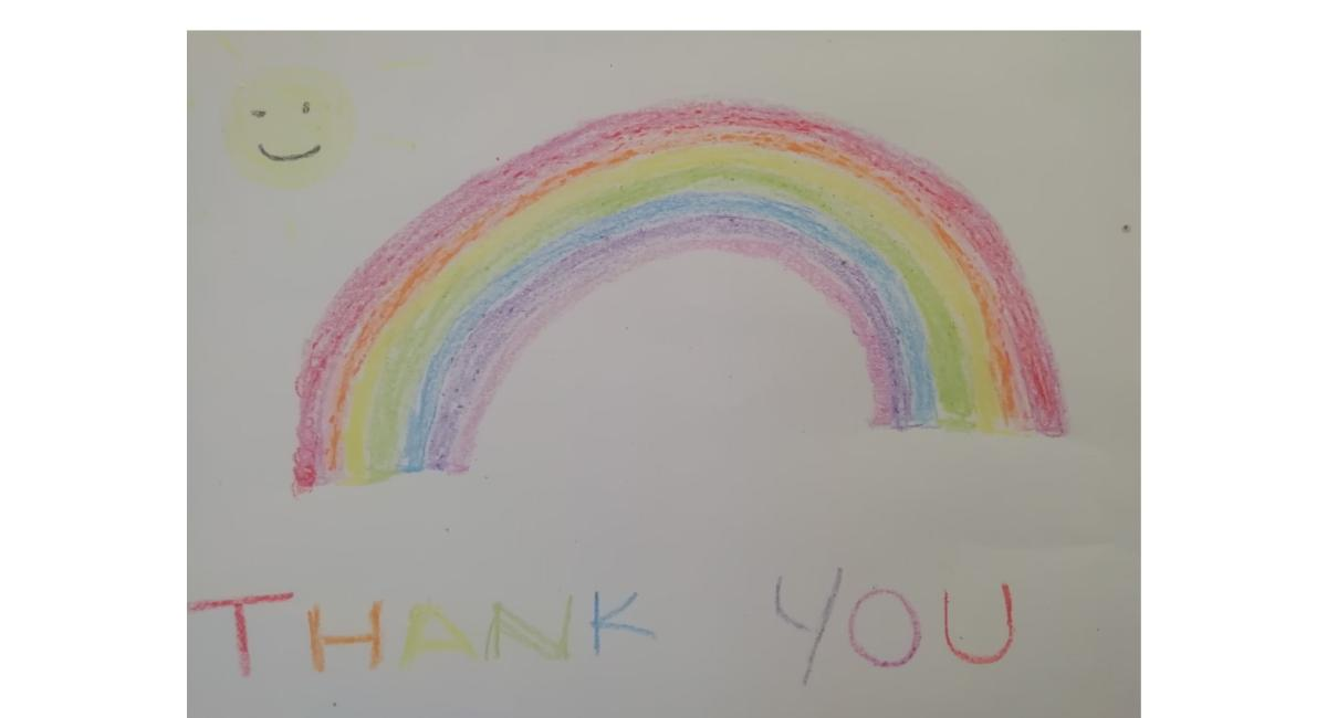 Rainbow thank you sign