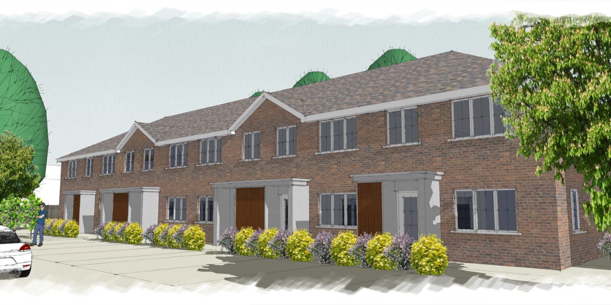 Artist's impression of new housing in Ludwick Way