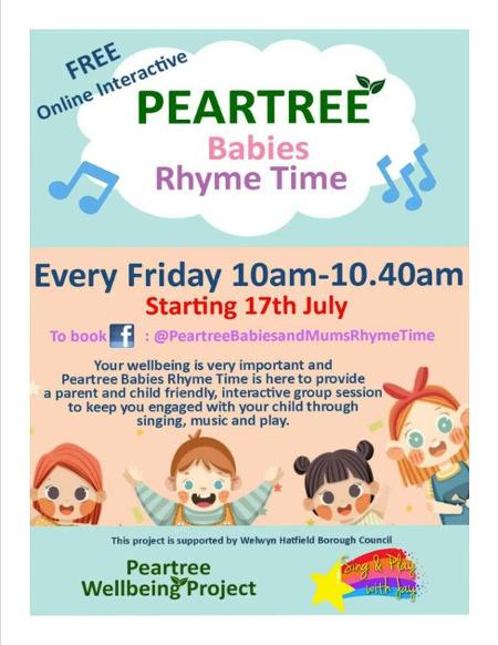 A poster for Peartree babies rhyme time.