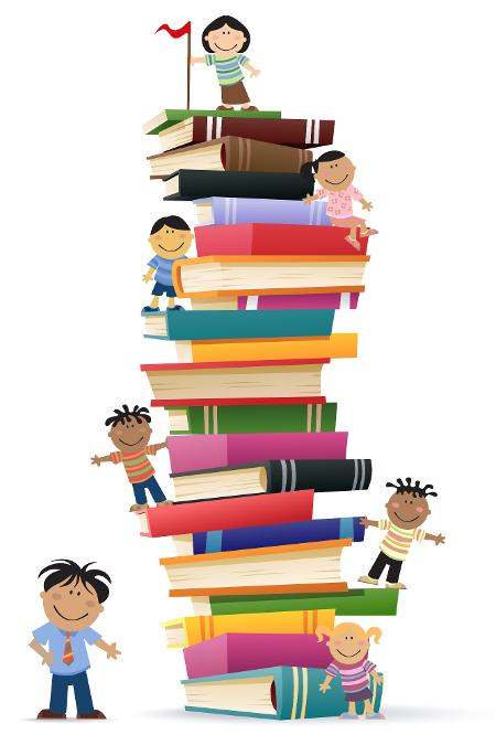 A cartoon of children standing on a stack of large books