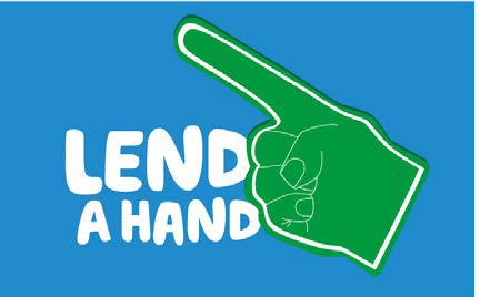 a foam finger with the text 'lend a hand'