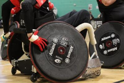 a sports wheelchair in action