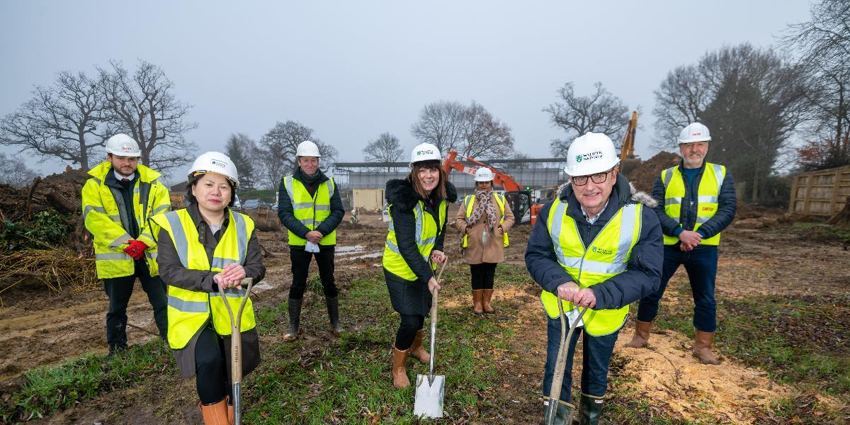 Members of the council, representatives from contractors RG Carter and the project's architects Rock Townsend take part in ground-breaking ceremony