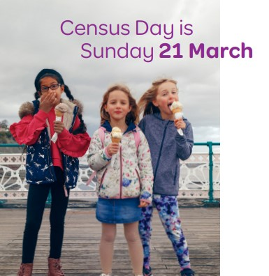 Image of three young girls with text about census.