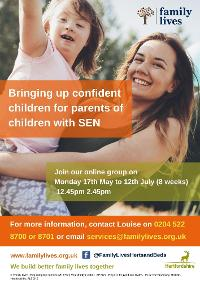 Image for Free Online Parenting Group for Parents and/or Carers of Children with Special Educational Needs who live in Herts or attend school in Herts