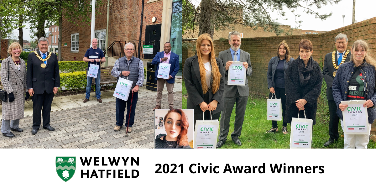 Montage of the 2021 Civic Awards winners with Cllr Roger Trigg