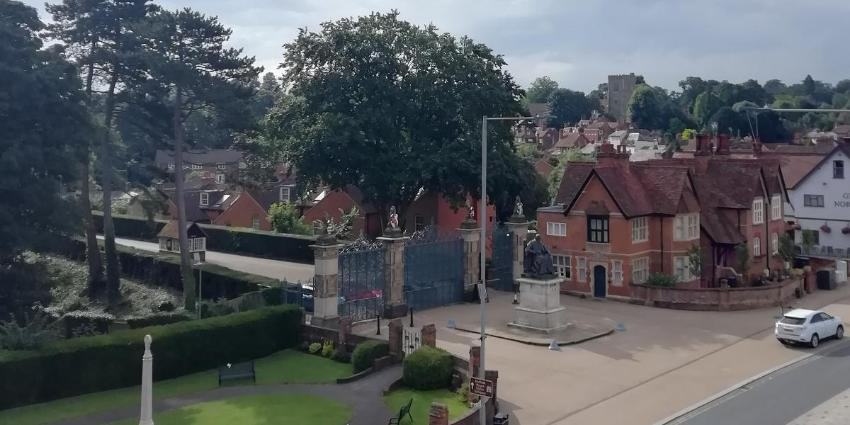 View of Hatfield House entrance with Old Hatfield in the distance