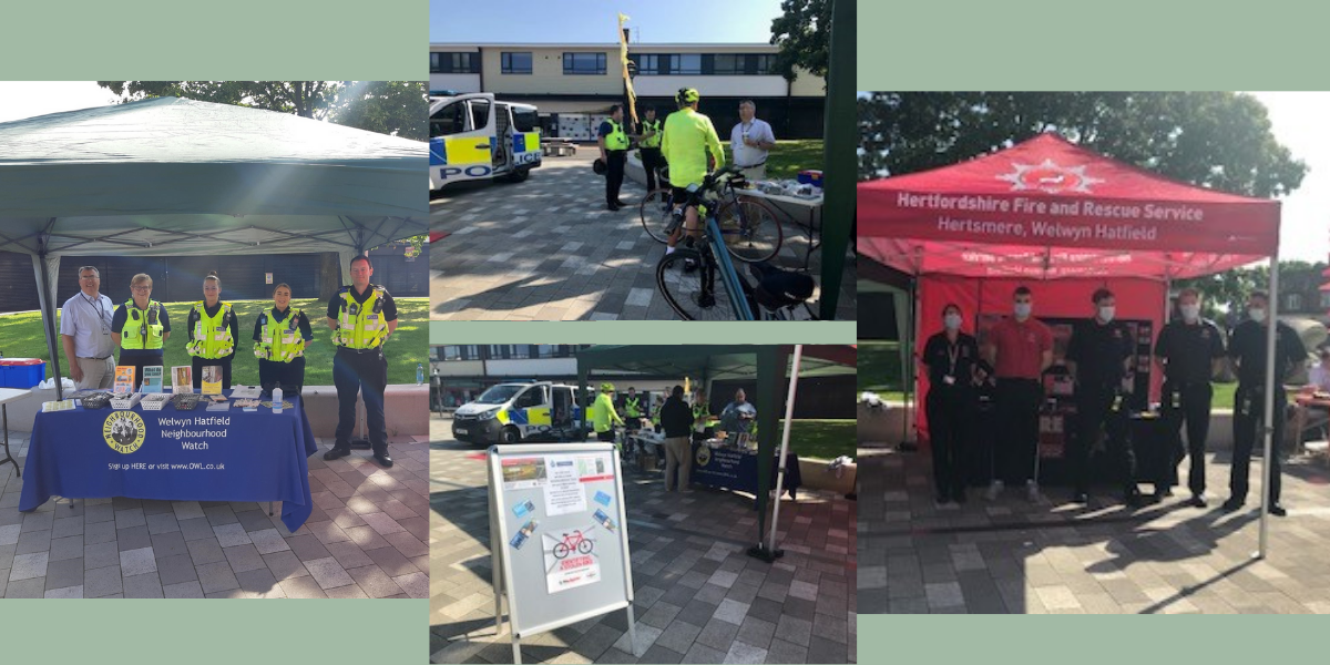Montage of images from the Welwyn Hatfield safer Neighbourhood Community Safety Day