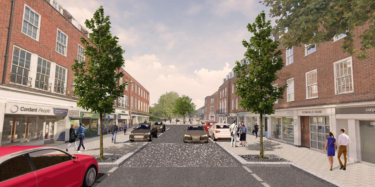 Artist's impression of Stonehills Road leading to new pedestrian square