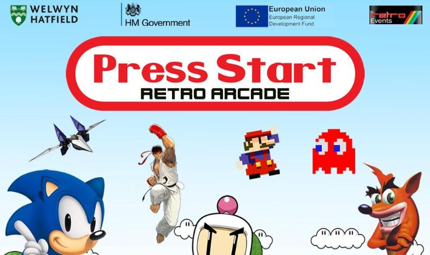 Retro gaming event poster with retro game characters