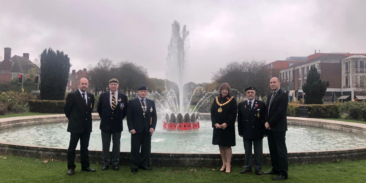 Coronation Fountain decorated to honour Battle's Over