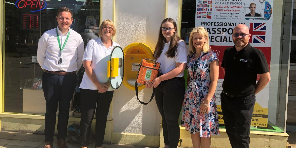 New life saving equipment in prominent town centre location
